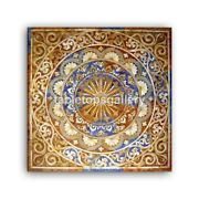 3'x3' Marble Dining Table Top Precious Stone Marquetry Inlay Designer Decor B399