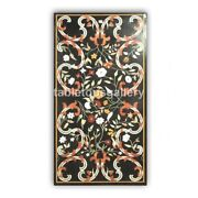 4and039x2and039 Marble Black Dining Table Top Precious Marquetry Inlay Living Decors B415