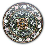 3and039x3and039 Marble Top Dining Table Mosaic Floral Inlay Work Christmas Decor Gift B421