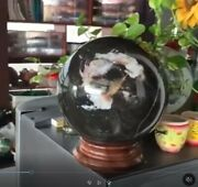 Big 15.4 Kilo Snowflake Obsidian Sphere Crystal Healing Mineral Ball With Stand