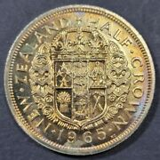 1965 New Zealand Half Crown Ms Bu Color Toned Coin