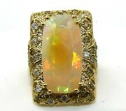 Natural Long Cushion Fire Opal And Diamond Solitaire Ring 14k Yellow Gold 8.43ct