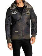 X-ray Menand039s Slim Fit Flight Jacket With Removable Faux Fur Collar Coat Camo M