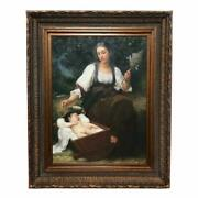 Berceuse William Adolphe Bouguereau Oil Canvas Painting Antique Style Frame
