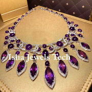 Victorian Natural Rose Cut Diamond And Amethyst 925 Sterling Silver Necklace