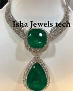 Handmade Natural Rose Cut Diamond And Green Quartz 925 Sterling Silver Necklace