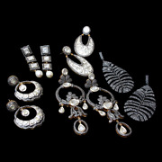 Natural Pave Diamond And Diamond Polki 925 Sterling Silver Earrings Wholesale Lot