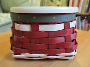 Longaberger 2015 Trifles Red And White W Green Trim Booking Basket And Lid