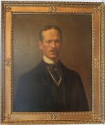 Antique 19 Century Oil Painting On Canvas Portrait Of A Gentleman Unsigned