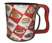 Vintage Androck Hand-i-sift Flour Sifter Red Checkerboard Cake Pie Bread Bars