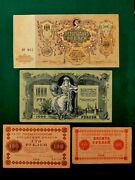 Russian 4x Banknotes Set 5000 And1000 Ruble 1919 Vf 100 And 10 Ruble 1918 F