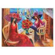 Yana Rafael Ladies By The Sea Hand Signed Original Painting With Coa