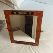 Rolex Brown Wooden Frame Glass Adjustable Mirror Store Display 9x11 Very Rare