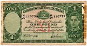 Australia 1942 Banknote 1 Pound King George Vi As Pictured