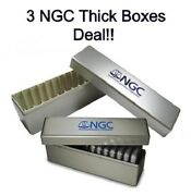 Lot 3 New Silver Ngc Plastic Double Thick Slab For 14 Coin Holders Storage Boxes