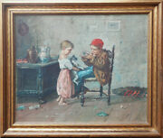 Boy Girl Playing W Cat And Mouse Antique Genre Oil Painting By G. Russo Italy