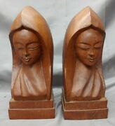 Old Vintage Hand Carved Wooden Woman Bookends Asian Indonesian Wood Carvings