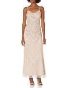 Jump Womenand039s Vintage Beaded Gown Sequins Blush Maxi Dress Size 9-10