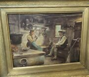Antique 19th Cent. European Oil On Board Painting Of People In A Wood Cabin