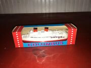 Vintage Lehmann Columbus Nr. 904 Wind Up Toy Boat In Box - Made In Germany 1
