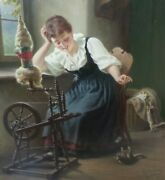 Antique 1860s German Hermann Sondermann Oil On Canvas Painting - Girl With Cat