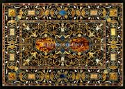 4and039x3and039 Black Marble Dining Table Top Inlaid Pietra Dura Arts Furniture Decor B575