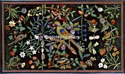 4'x2'marble Top Dining Table Multi Stone Floral And Parrot Inlay Home Decor B578