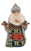 Russian Santa With Birds Christmas Tree Wooden Hand Carved Hand Painted