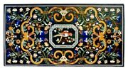 4and039x2and039 Marble Dining Table Tops Multi Floral And Parrot Inlay Christmas Decor B601