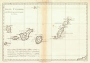Isles Canaries. Canary Islands. Spain. Tenerife Lanzarote Andc. Bonne 1788 Map