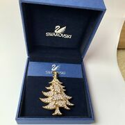 Signed Swan All Pave Clear Crystal Christmas Tree Brooch Pin