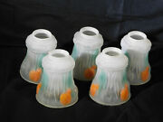 Set Of 5 Hand Painted Puffy Light Shades For Sconces Wall Ceiling Light Fixtures