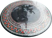 48 Round Marble Center Table Tops Carnelian Floral Inlay Dining Room Decor B631
