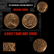 1974 Australian1 Cent Rare Mint Error Coin A Over 7 In Date Extremely Rare Unc
