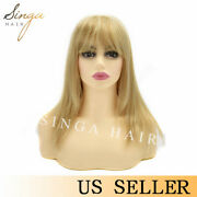 Us Long Gold Blonde Synthetic Wig For Women Straight Female Hair Wigs With Bangs