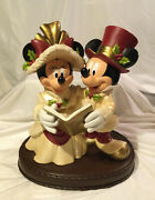 Rare - Large Mickey And Minnie Carolers By Disney Theme Parks Victorian Christmas