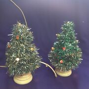 Rare Vintage Glolite Type Table Top Tinsel Wrapped Electric Christmas Tree Pair