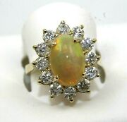 Natural Oval Fire Opal And Diamond Halo Solitaire Ring 14k Yellow Gold 3.83ct