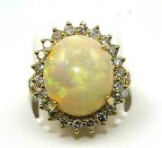 Natural Oval Fire Opal And Diamond Halo Solitaire Ring 14k Yellow Gold 9.75ct