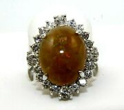 Natural Oval Fire Opal And Diamond Halo Solitaire Ring 14k White Gold 7.90ct