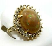Natural Oval Fire Opal And Diamond Halo Solitaire Ring 14k Yellow Gold 9.25ct