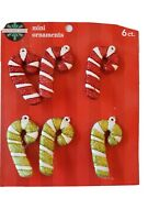 Christmas Ornaments Candy Canes Set Of 6 Mini Decorations For Wreath Table Tree