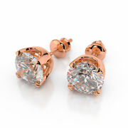 Sparkling 18kt Rose Gold Round Cut Diamond Stud Earrings 2.00 Ct D/si1