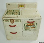Marx Tin Kitchen Stove Vintage Pretty Made Metal Play Cabinet Toy