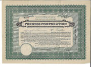 New Jersey 1929 Furness Corp Stock Certificate National Park Faux Silkmaking