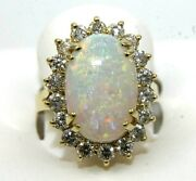 Natural Oval Fire Opal And Diamond Halo Solitaire Ring 14k Yellow Gold 6.61ct