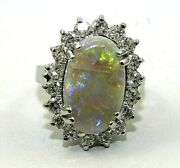 Natural Long Oval Fire Opal And Diamond Halo Solitaire Ring 14k White Gold 5.72ct