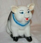 Vintage White Pottery Sitting Mexican Piggy Bank From Santa Fe