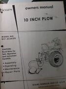 Sears Suburban Tractor Three-point Plow Original Owner And Parts Manual