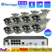 8ch 3mp 48v Poe System Outdoor Night Vision 2way Audio Home Ip Camera Security